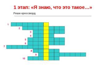 1 этап: «Я знаю, что это такое…» 1 2 3 4 5 6 7 8 9 10 Реши кроссворд