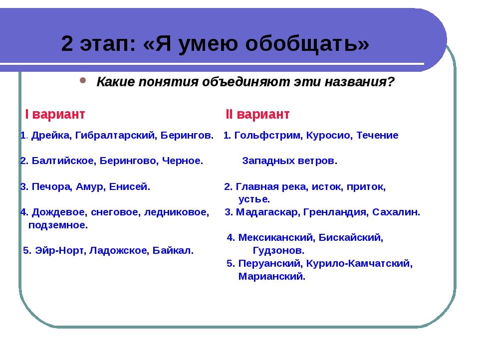 2 этап: «Я умею обобщать» Какие понятия объединяют эти названия? I вариант II...