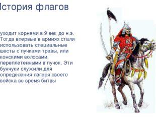 История флагов уходит корнями в 9 век до н.э. Тогда впервые в армиях стали ис