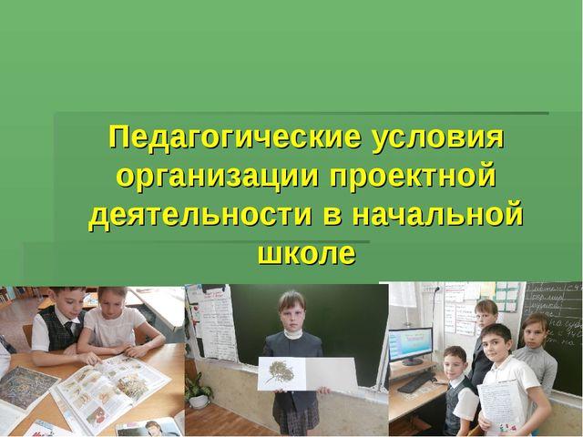 Педагогические условия организации проектной деятельности в начальной школе
