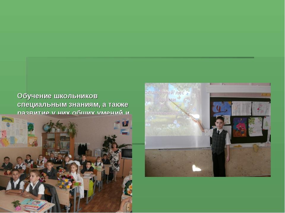 Обучение школьников специальным знаниям, а также развитие у них общих умений...