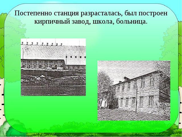 Постепенно станция разрасталась, был построен кирпичный завод, школа, больница.