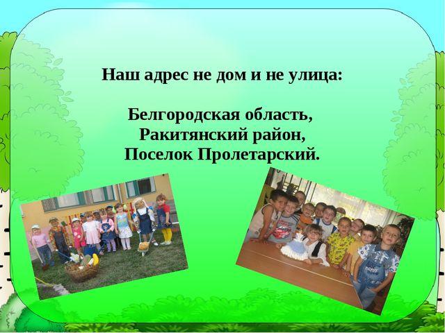 Наш адрес не дом и не улица: Белгородская область, Ракитянский район, Поселок...