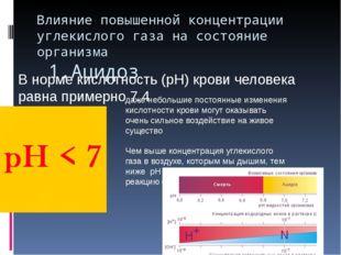 Влияние повышенной концентрации углекислого газа на состояние организма 1.Аци