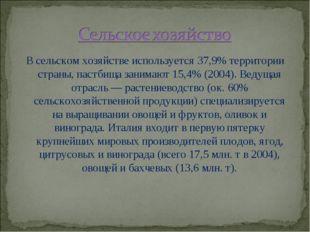 В сельском хозяйстве используется 37,9% территории страны, пастбища занимают
