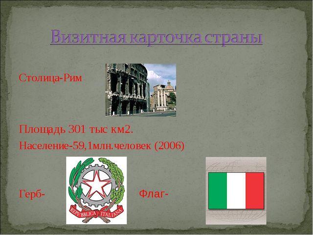 Столица-Рим Площадь 301 тыс км2. Население-59,1млн.человек (2006) Герб- Флаг-