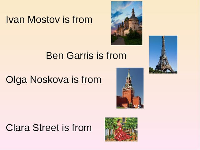 Ivan Mostov is from 		Ben Garris is from Olga Noskova is from 	 Clara Street...