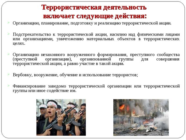 Террористическая деятельность включает следующие действия: Организацию, план...
