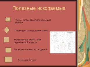 Полезные ископаемые Глины, суглинки легкоплавкие для кирпича Сырьё для минера