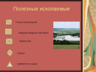 Полезные ископаемые Глина огнеупорная Кварцитовидный песчаник Известняк Грани