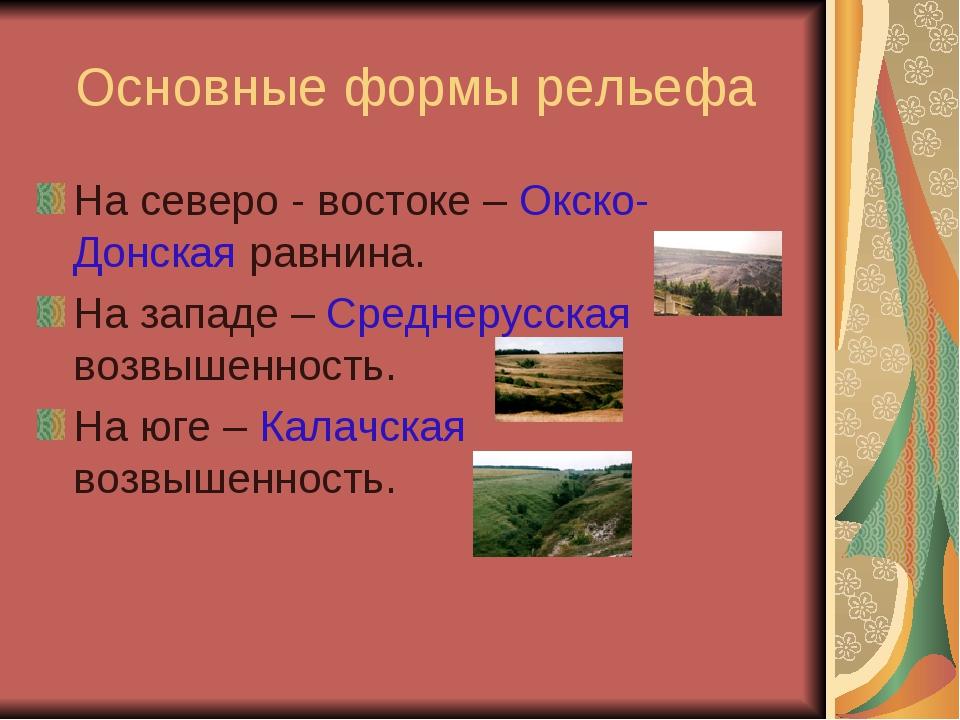Основные формы рельефа На северо - востоке – Окско-Донская равнина. На западе...