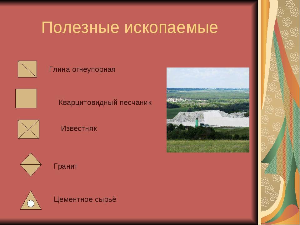 Полезные ископаемые Глина огнеупорная Кварцитовидный песчаник Известняк Грани...