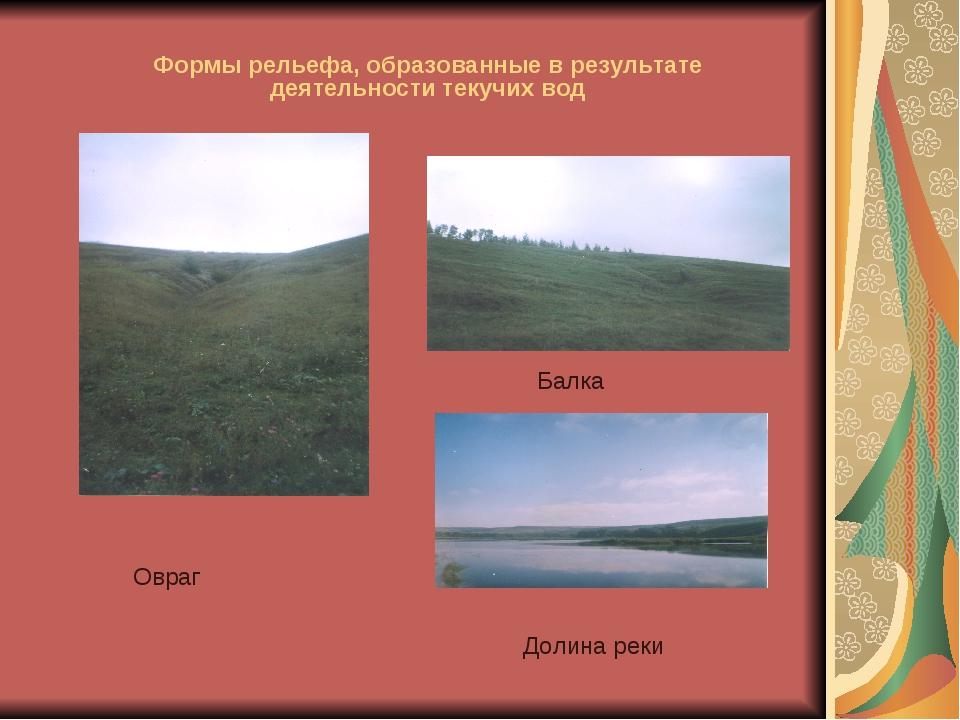 Формы рельефа, образованные в результате деятельности текучих вод Овраг Балка...