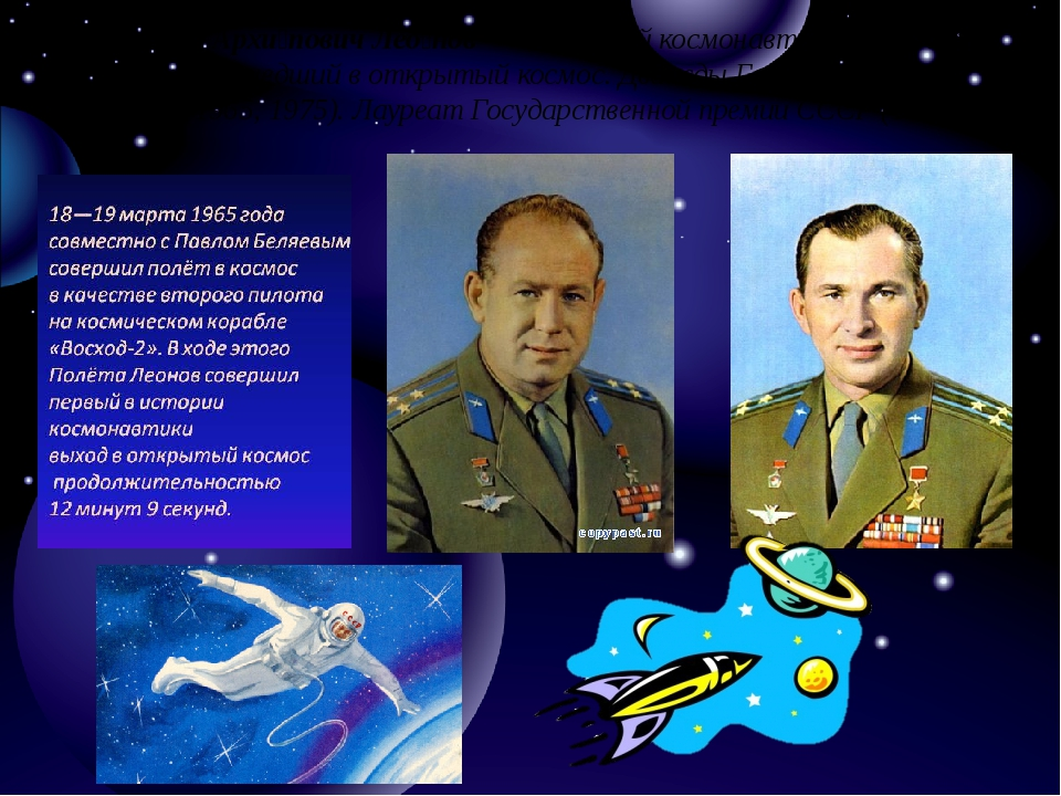 Алексе́й Архи́повичЛео́нов— советский космонавт № 11, первый человек, вышед...