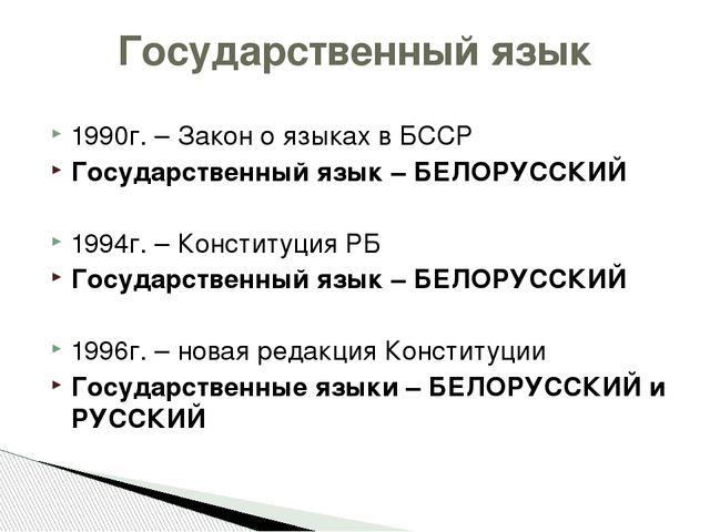1990г. – Закон о языках в БССР Государственный язык – БЕЛОРУССКИЙ 1994г. – Ко...