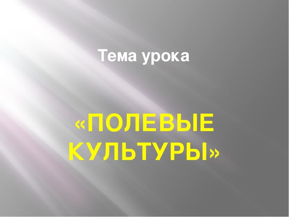 Тема урока «ПОЛЕВЫЕ КУЛЬТУРЫ»