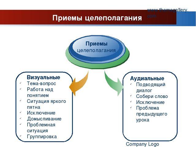 www.themegallery.com Company Logo Приемы целеполагания Визуальные Тема-вопрос...