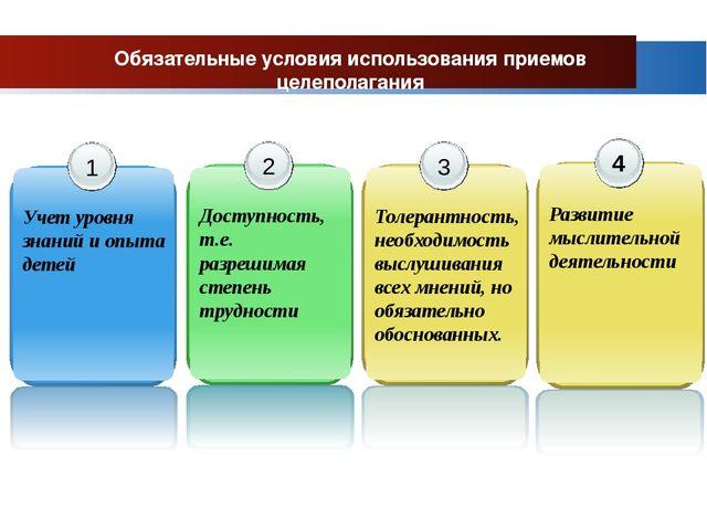 Обязательные условия использования приемов целеполагания 1 Учет уровня знаний...