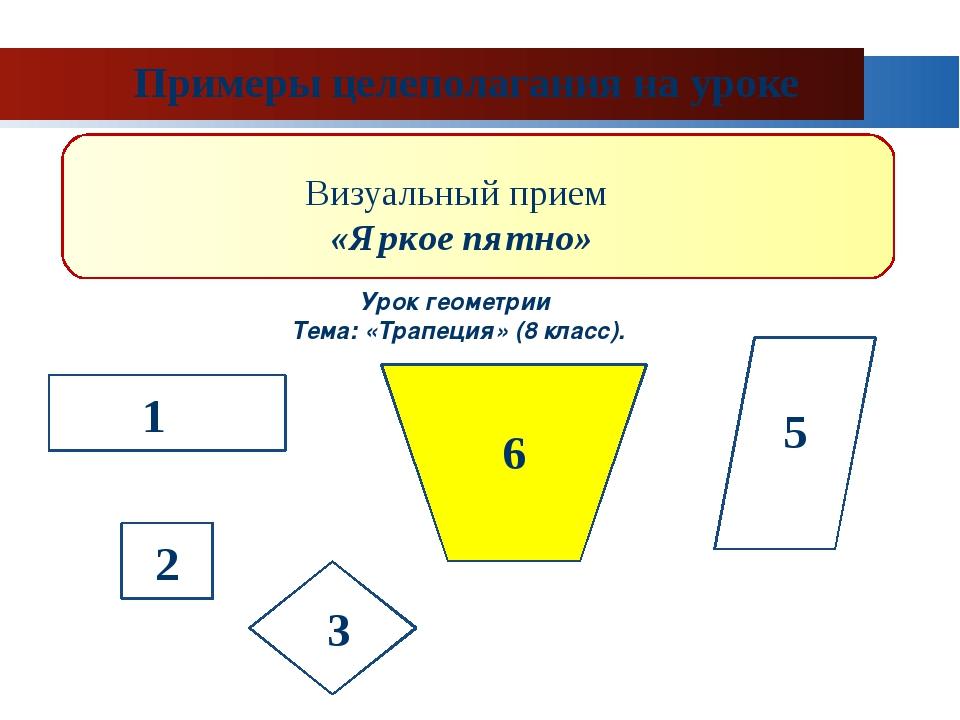 Примеры целеполагания на уроке Визуальный прием «Яркое пятно» Урок геометрии...