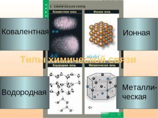 Типы химической связи Ковалентная Ионная Металли- ческая Водородная