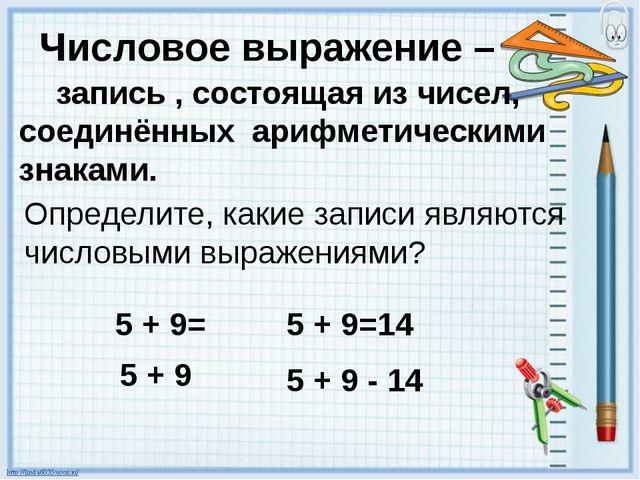 Числовое выражение – запись , состоящая из чисел, соединённых арифметическими...