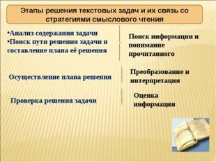 Этапы решения текстовых задач и их связь со стратегиями смыслового чтения Ана