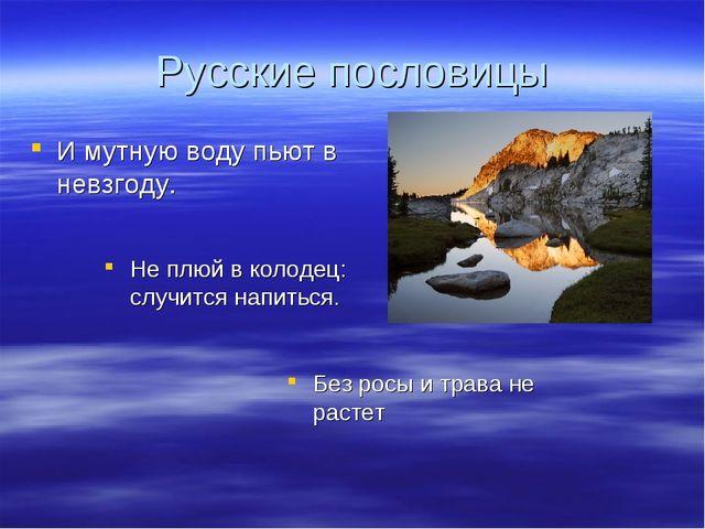 Русские пословицы И мутную воду пьют в невзгоду. Не плюй в колодец: случится...