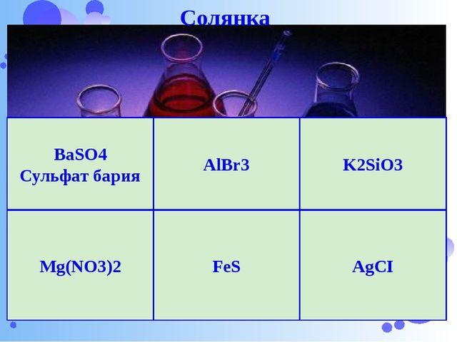 Нижегородский Кремль AlBr3 K2SiO3 AgCI Mg(NO3)2 FeS BaSO4 Сульфат бария Солянка