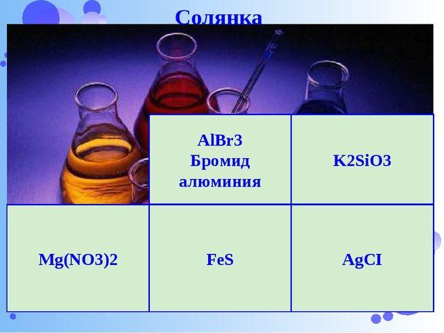 Нижегородский Кремль K2SiO3 AgCI Mg(NO3)2 FeS AlBr3 Бромид алюминия Солянка