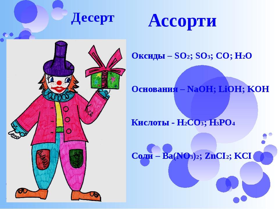 Ассорти Десерт Оксиды – SO2; SO3; CO; H2O Основания – NaOH; LiOH; KOH Кислот...