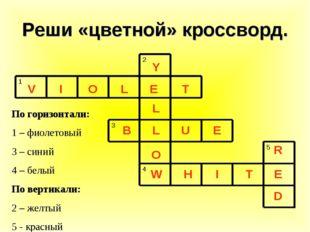 Реши «цветной» кроссворд. По горизонтали: 1 – фиолетовый 3 – синий 4 – белый