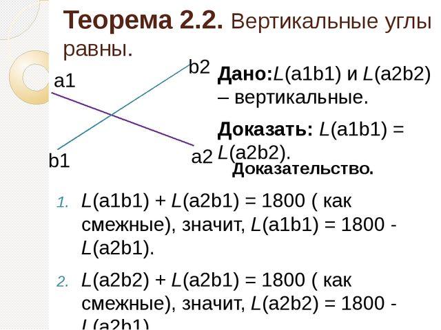 Теорема 2.2. Вертикальные углы равны. L(а1b1) + L(a2b1) = 1800 ( как смежные)...