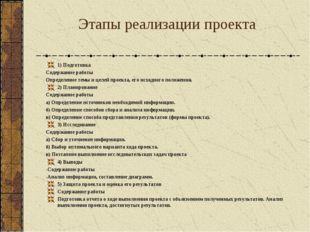 Этапы реализации проекта 1) Подготовка Содержание работы Определение темы и