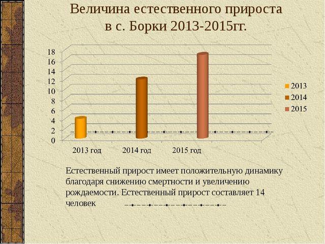 Величина естественного прироста в с. Борки 2013-2015гг. Естественный прирост...