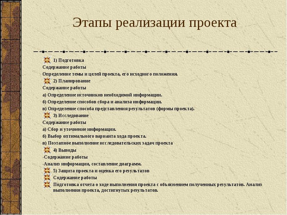Этапы реализации проекта 1) Подготовка Содержание работы Определение темы и...