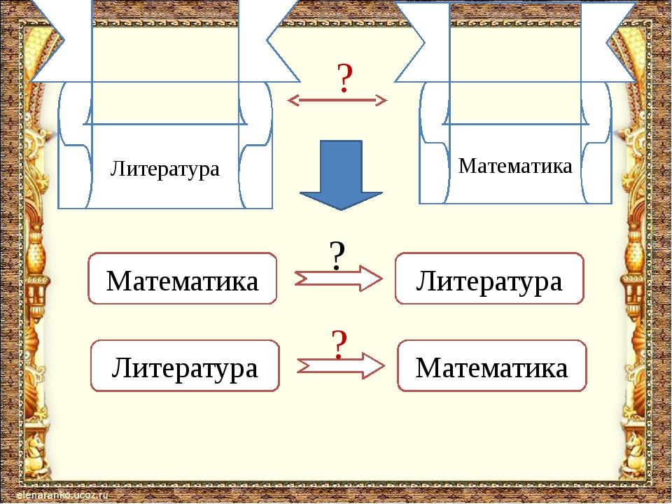 Литература Математика ? Математика Литература Литература Математика ? ?