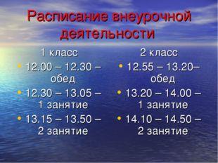 Расписание внеурочной деятельности 1 класс 12.00 – 12.30 – обед 12.30 – 13.05
