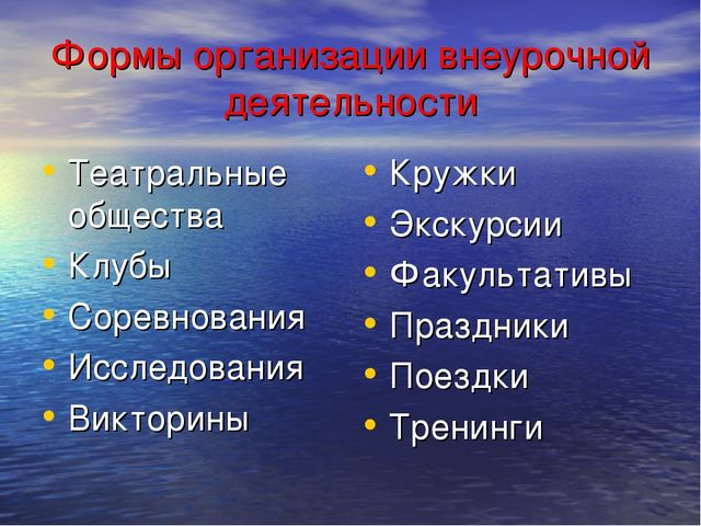 Формы организации внеурочной деятельности Театральные общества Клубы Соревнов...