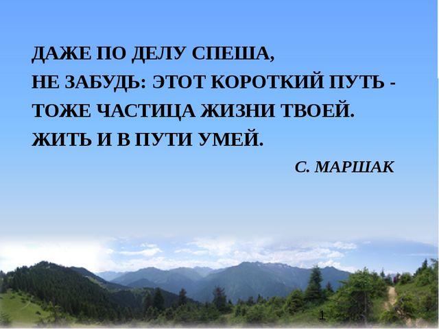 ДАЖЕ ПО ДЕЛУ СПЕША, НЕ ЗАБУДЬ: ЭТОТ КОРОТКИЙ ПУТЬ - ТОЖЕ ЧАСТИЦА ЖИЗНИ ТВОЕЙ....