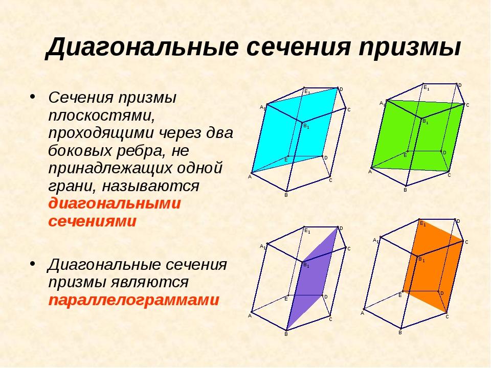 Диагональные сечения призмы Сечения призмы плоскостями, проходящими через два...