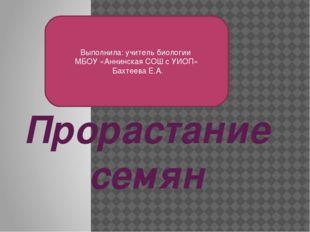 Прорастание семян Выполнила: учитель биологии МБОУ «Аннинская СОШ с УИОП» Бах