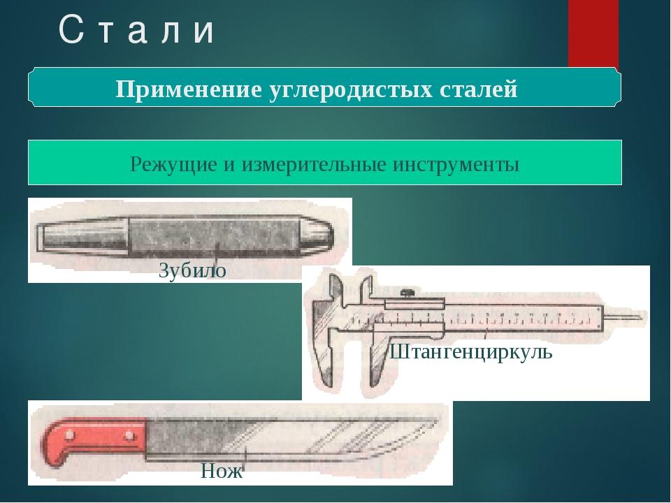 С т а л и Применение углеродистых сталей Режущие и измерительные инструменты