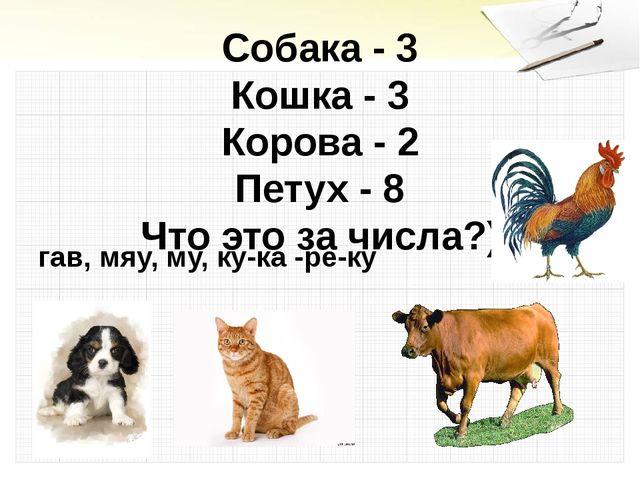 Собака - 3 Кошка - 3 Корова - 2 Петух - 8 Что это за числа?) гав, мяу, му, ку...