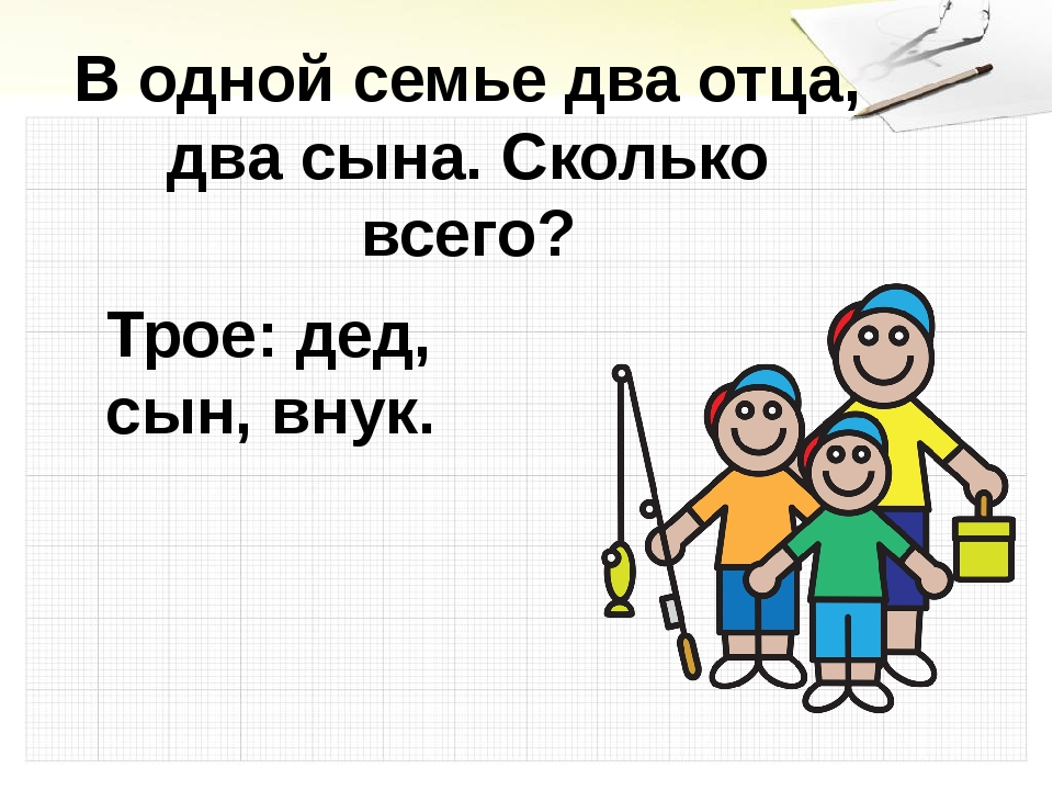 В одной семье два отца, два сына. Сколько всего? Трое: дед, сын, внук.