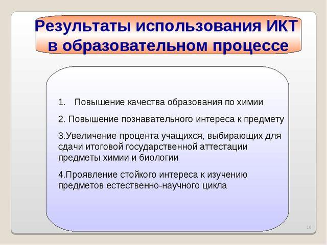* Результаты использования ИКТ в образовательном процессе Повышение качества...