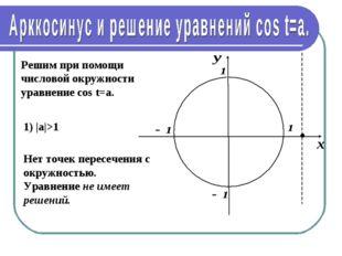Решим при помощи числовой окружности уравнение cos t=a. 1) |а|>1 Нет точек пе