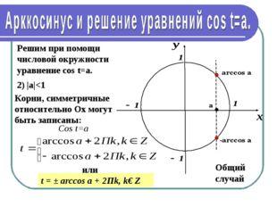 Решим при помощи числовой окружности уравнение cos t=a. 2) |а|