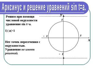 Решим при помощи числовой окружности уравнение sin t=a. 1) |а|>1 Нет точек пе