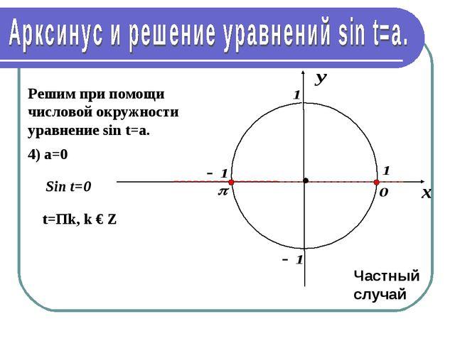 Решим при помощи числовой окружности уравнение sin t=a. 4) а=0 t=Пk, k € Z Ча...
