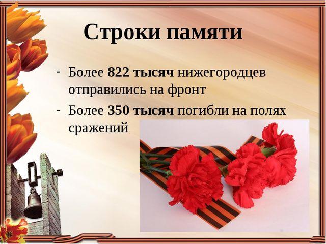 Более 822 тысяч нижегородцев отправились на фронт Более 350 тысяч погибли на...